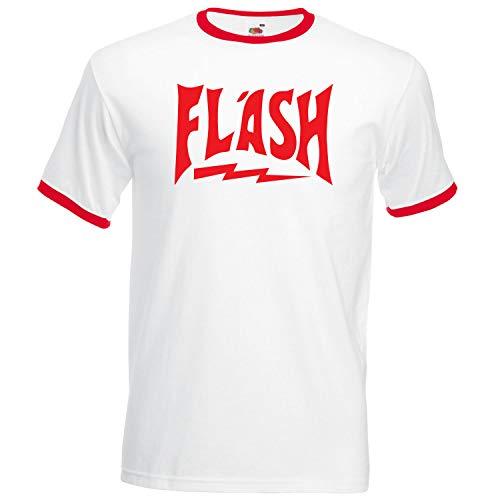 Retro-shirts Für Männer (Retro-T-Shirt mit 80er-Flash Gordon-Design Gr. Small, weiß)