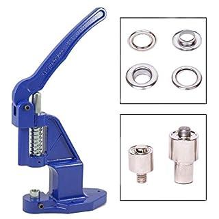 GETMORE Parts Ösenpresse mit Ösenwerkzeug und 100 Ösen, Messing rostfrei - Silber vernickelt, 5 mm