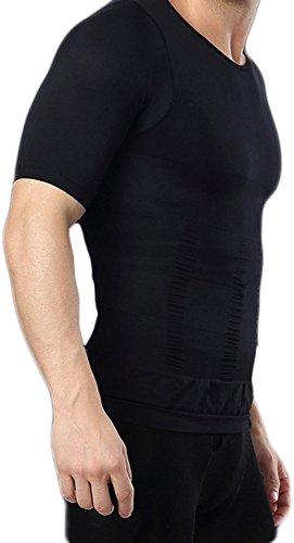 Bauchweg Bodyshaper Slimming T-Shirt Men Miederbody Shapewear Figurformer mit Ärmeln (XXL, Weiß)