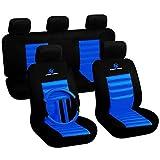 Woltu AS7264 - Funda de asiento universal para coche, diseño deportivo, color negro y azul