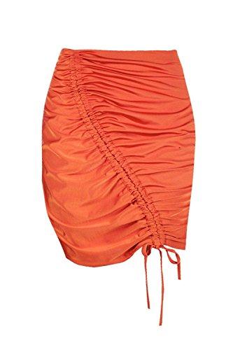 Damen Orange Aveline Minirock Mit Raffung Orange