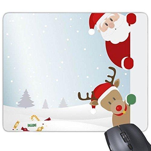 Weihnachten Santa Claus Elk Peep Merry Christmas Happy New Year Festival Illustration Muster Rechteck rutschfeste Gummi Mauspad Spiel Maus Pad (Peep Spiel)