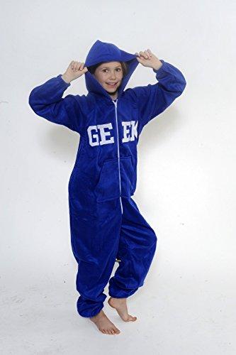 CrazyGadget Grenouillère fantaisie en polaire douce avec capuche pour enfant Multicolore - Bleu