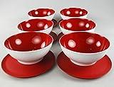 TUPPERWARE Allegra 275 ml Rot Weiß (6) Schalen Dessert Dessertschalen
