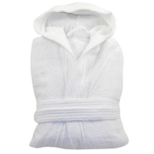 MyShoeStore® Peignoir de bain en tissu éponge, toucher doux, 100% en coton égyptien Blanc - White / Hooded
