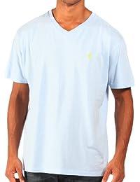 Ralph Lauren - T-shirt à col en V - coupe classique - homme- bleu ciel