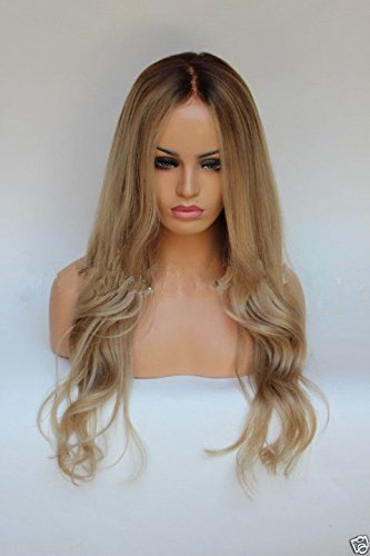 HotQueen 7A European Remy Human Hair Wig Wavy Ombre Blonde Full Lace Wig Lace Front Wig (Perücken Blond Full Lace)