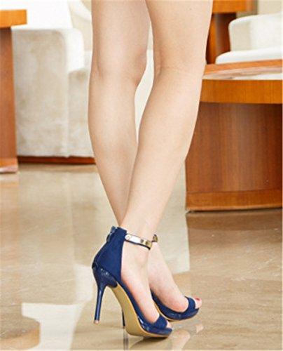 Wealsex Sandales Escarpins Daim Boucle en métal Bride Cheville Bout Ouvert Talons Aiguilles Femme Bleu