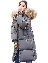 KEERADS Mantel Damen Lang Winter Reißverschluss Taschen Dicke Warme  Kunstpelz Kapuze Dicke Dünne Jacke ... afdc71fe83