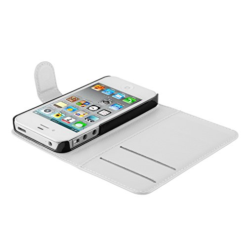 Cadorabo - Etui Housse pour Apple iPhone 4 / 4S / 4G - Coque Case Cover Bumper Portefeuille (avec stand horizontale et fentes pour cartes) en NOIR DE JAIS ALBÂTRE BLANC