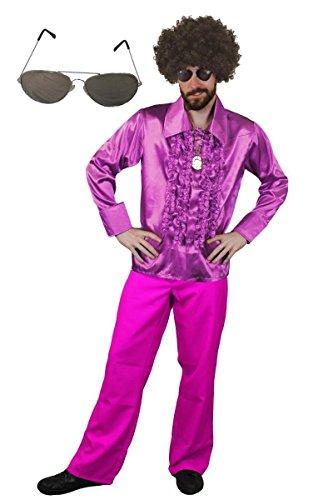 ILOVEFANCYDRESS MÄNNER Disco Dance Night Fever KOSTÜM VERKLEIDUNG=Kult HITPARADEN 70iger ODER 80iger Fasching ODER Karneval=BREITEM Kragen UND RÜSCHEN=Hemd-Large+Hose - 1960's Dance Kostüm
