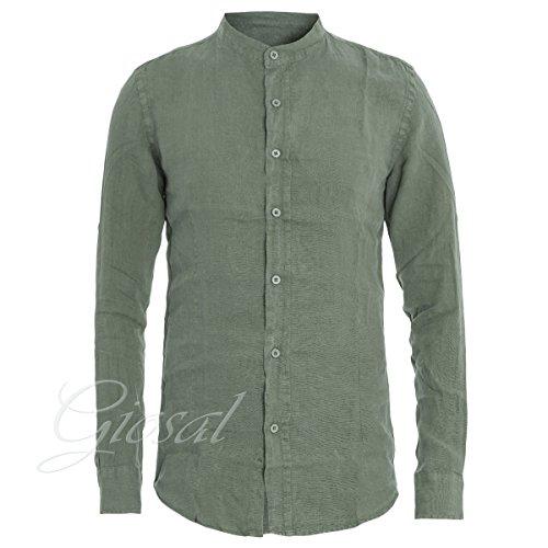 Giosal camicia uomo lino verde tinta unita slim collo coreano c1385a-verde-m