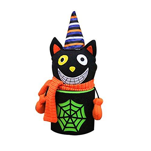 Originaltree Nettes Halloween-Süßigkeit-Glas kann Geschenk-Dekor-Zombie-Geist-Katzen-Muster-Party-Schale (Schwarze (Kostüm Ideen Urlaub Weihnachten Für Partei)