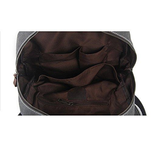 S-ZONE Sacchetti da scuola di viaggio di cuoio genuini della tela di canapa della Sacchetto di zaino dello zaino della borsa del computer portatile da 15.6 pollici (verde dellesercito) Grey