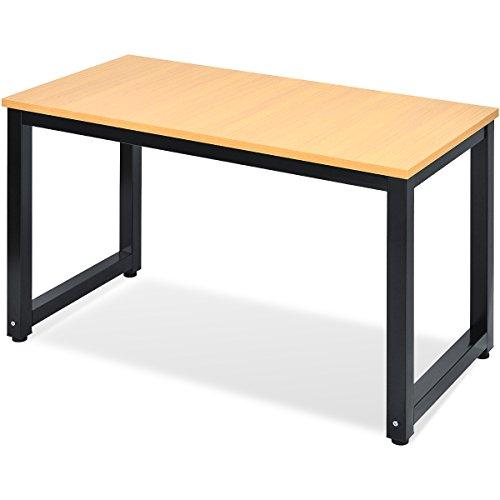 Merax Computertisch Schreibtische Bürotisch Arbeitstisch PC-Tisch, Eiche Farbe (Eiche-Schwarz)