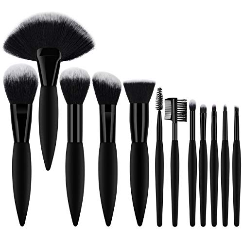 BTYMS 12 pezzi Set di Pennelli Make Up Professionali con Soffici Fibre Sintetiche, Elegante Nero Make Up Brushes per Fondotinta, Fard, Ombretto, Cipria, Creme Pennelli Trucco