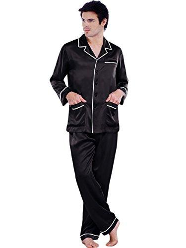 ELLESILK Herren Schlafanzug 100% 22 Momme Maulbeerseide, Zweiteilig Pyjama Lange Ärmel Schwarz/Weiß