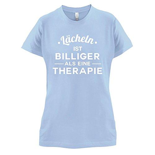 Lacheln ist billiger als eine Therapie - Damen T-Shirt - 14 Farben Himmelblau