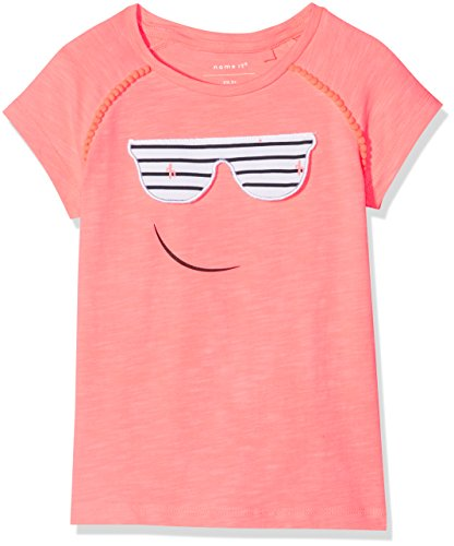 NAME IT Baby-Mädchen T-Shirt Nmfderika Capsl Top, Rosa (Neon Coral), 98