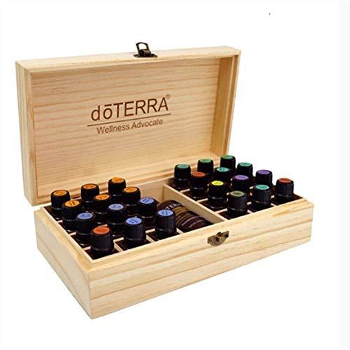miraculocy Ätherisches Öl Holzkiste 25 Gitter Phytotherapie Ätherisches Öl Aufbewahrungsbox Fall Für Ätherisches Öl Tragetasche Aromatherapie Behälter Schatz Schmuck Display-Box