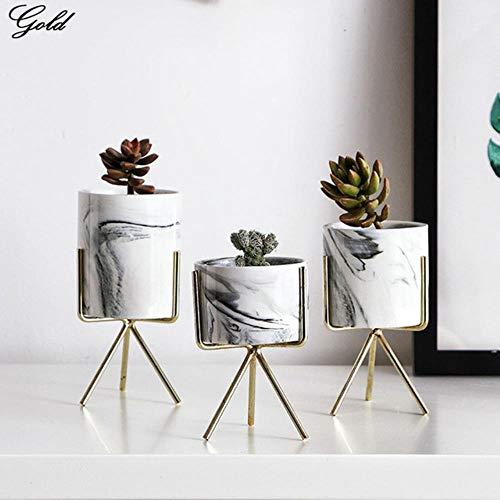 CTOBB Eisen Pflanze Vase Stand Pflanzgefäß Halter Marmor Keramik Blumentopf Regal Rack Garten, gelb, groß