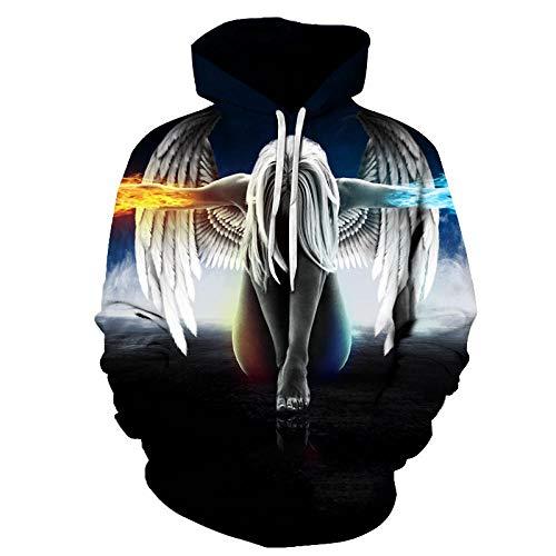 WPHRL Jungen Mädchen Hoodie 3D Print Kapuzenpullover Kreative Engelsflügel Sweatshirts Mit Kapuze Pullover mit Taschen Halloween-Party M