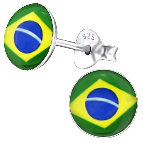 So Chic Schmuck - Kinder Ohrstecker Brasilianische Flagge Sterling Silber - Brasilianischer Schmuck