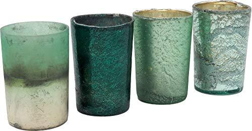 Unbekannt Kerzenhalter Teelichthalter Glas Advent Weihnachtsdeko Deko Weihnachten Mint Petrol Grün Gold