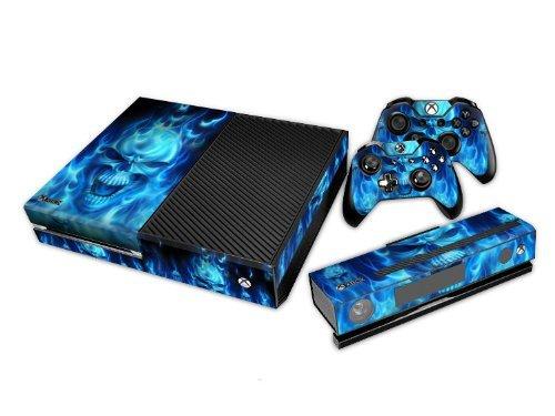 Xbox One Designfolie Sticker Skin - Vinyl Aufkleber Schutzfolie für Xbox One Konsole mit 2 Aufkleber für Xbox One Controller - Blue Fire Skull
