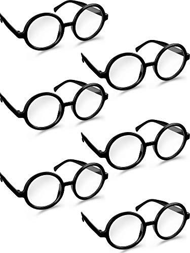 Unisex Runde Brillen Vintage Klare Linse Brille Nerd Stil Runde Brille für Halloween Kostüm Party Cosplay Liefert (6 Paare) (Nerd Kostüm Mit Brille)