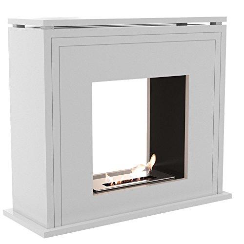 Ethanolkamin La Spezia Standkamin (Raumteiler) mit sicherem Brennsystem in Weiß