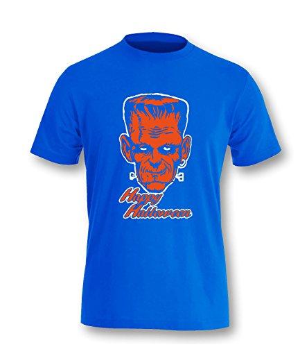 Luckja Happy Halloween Kinder T-Shirt Royal-Weiss/Orange Grösse 152/164