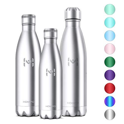 Hompo bottiglia acqua in acciaio inox - borraccia termica 350ml/ 500ml/ 750ml/ 1l isolamento sottovuoto a doppia parete,privo di bpa & leakproof,borracce per bambini, bici, palestra