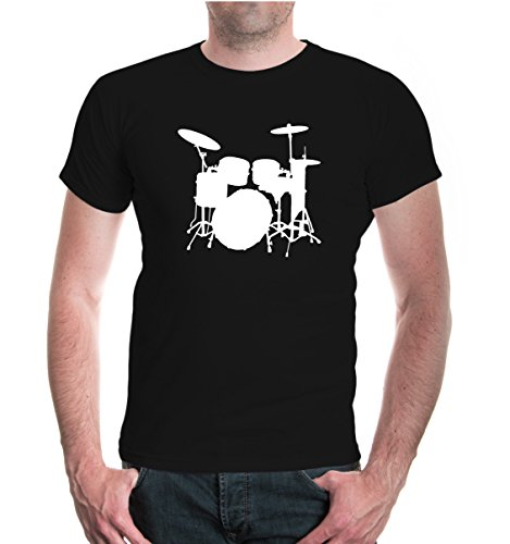 t-shirt-batterie-musique-drum-kit-m-black-white