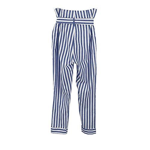 b3bf18b70865 Topgrowth Pantaloni Donna Eleganti Casual Pantalone a Righe A Vita Alta  Pantaloni Larghi Ufficio Estiva Club Slim Fit Pantaloni Cropped (Blu