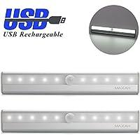 MAXAH® 2 unità Luce LED / Sensore di Movimento per Armadio, per corridoio, per scale etc. Con Striscia Magnetica (USB ricaricabile) ---bianco-argento