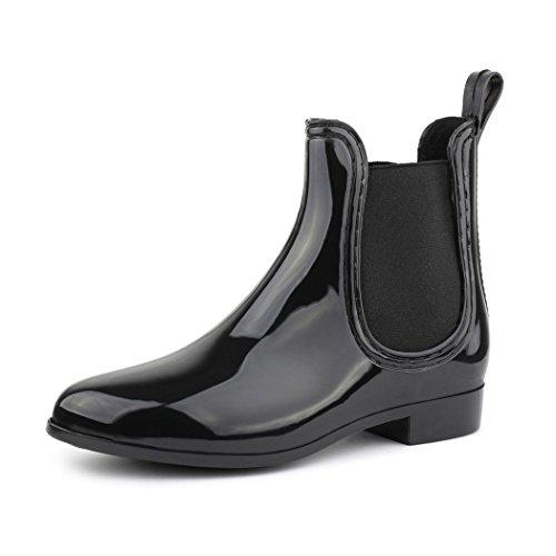 best-boots Damen Chelsea Boots Schuhe in Lack Blockabsatz SCHWARZ 743 Größe 40