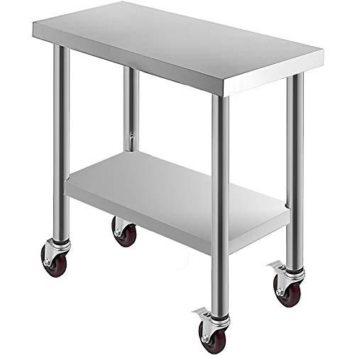 Husuper Edelstahl Catering Arbeitstisch Unterschiedliche Größen mit 4 Rädern Professioneller Arbeitstisch für die Zubereitung von Speisen (76x30x86cm)