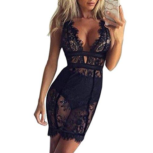 Lingerie Sexy Erotique Ouverte Femme, V-Neck Dress, Frenchenal Aux femmes Sexy Bodycon Robe en dentelle (Noir, M)