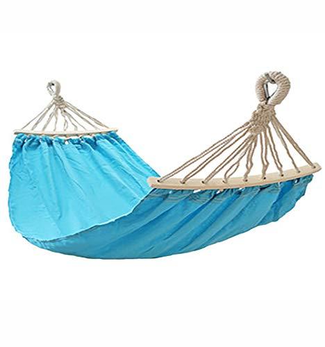 Lettino amaca per bambini, tela con bastoncini in legno, rollover, amaca portatile amovibile e lavabile, altalena, adatto per bambini da 6 a 12 anni, piscina esterna da campeggio al giardino,Blue