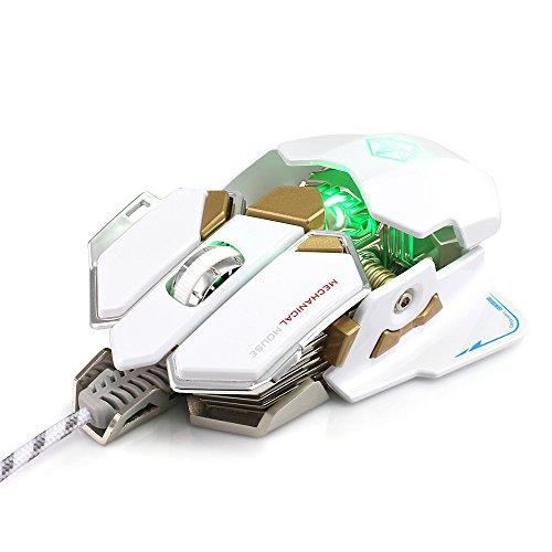 KKmoon LUOM G10Macros ratón profesionales ratón emisor de luz USB Gaming gameroptique a 9botones con y de cuatro colores regulables de vibración con inalámbrico 800–4000dpi de LUOM G10