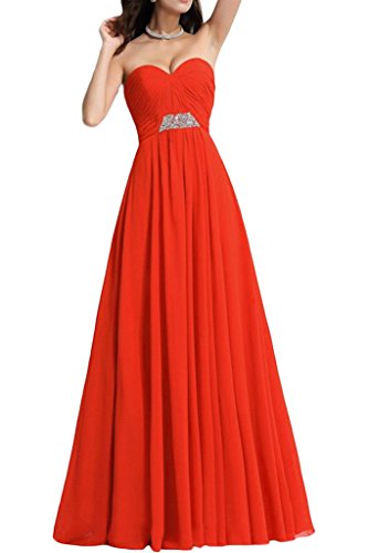 Sunvary Bodenlang Neu Traegerlos Chiffon Falte 2016 Paillette Perlen Abendmode Ballkleid Partykleider Rot
