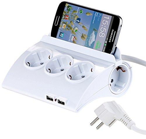 revolt Steckdosenverteiler: Schaltbare 5-Fach-Steckdosenleiste, 2 USB-Ladeports, Smartphone-Ablage (Steckdose mit USB) (Gummi-iphone Schwarzer Fall 4)