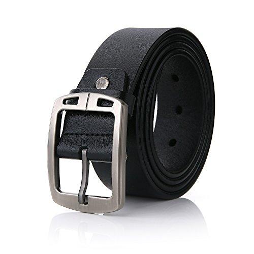 FYDRISE Ledergürtel Herren/Junge Schnalle Leder Gürtel Jeans Belt Business Schwarz 110m