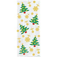 20 Cellophane Party Bags - Golden Christmas Trees (Xmas)