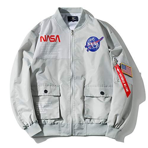 W&TT Herren Bomberjacke Damen NASA Air Force Flug Stickerei Patches Casual Sports wasserdichte Windjacke S ~ 4XL,Gray,L