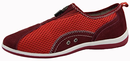 Knixmax Damen Sneakers Zipper Freizeit Damenschuhe Low-Top Atmungsaktive Sportschuhe Trainers Halbschuhe Rutschfester Bequem Walkingschuhe Rot