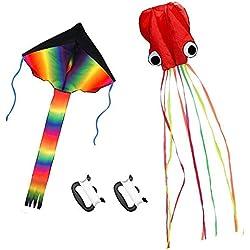 ZoomSky 2 Pcs Grand Cerf-volant Enfant Monofil Rainbow de Grand Triangle et Poulpe Mollusque Rouge Avec Cordon de 100 mètres Pour jeux extérieur activité enfants
