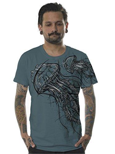 Herren Skate T-Shirt Medusa Qualle Grafikdruck L Türkisblau Festival Top