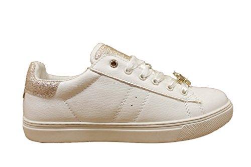 LIU-JO GIRL Sneaker Stringata Bianco e Platino con Pietre, Taglia 29